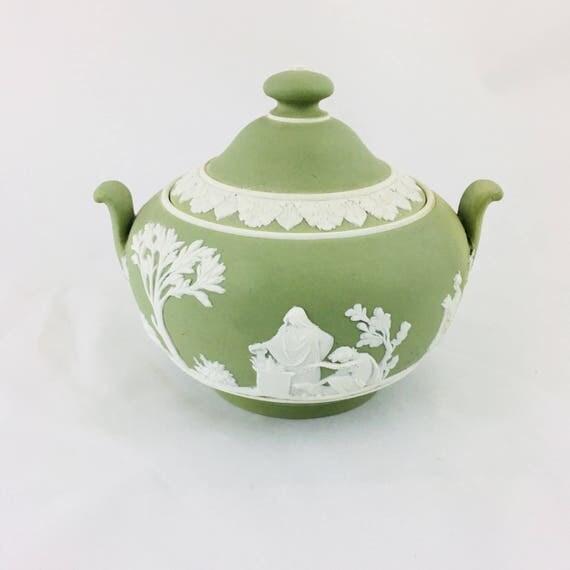 Vintage Wedgwood Jasperware Sugar Bowl Covered Dish Green and White