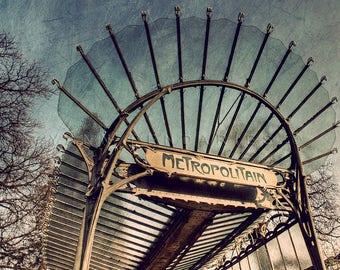 Paris France, Paris Photo, Photography Paris, Metro Sign, Paris wall decor, Art nouveau, Paris Metro Photo, Paris Metro decor, industrial