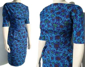 Vintage 60s Dress Blue Floral Wiggle Sheath M