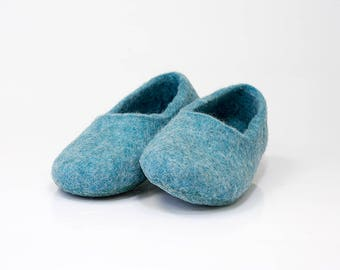 Natural wool felted slippers men women slippers warm Home shoes Pale Turquoise