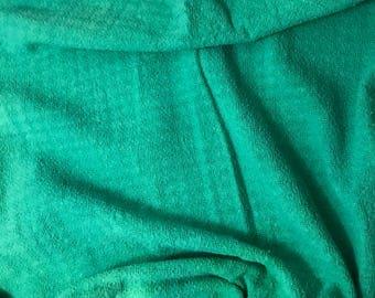 Emerald Green - Hand Dyed Checkered Weave Silk Noil - 1 Yard