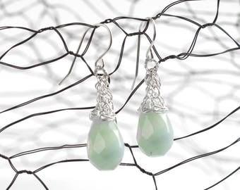 Green earrings,Amazonite earrings,Silver earrings,Mint silver earrings,Green dangle earrings,Seafoam drop earrings,Unique gift for her