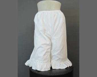 Vintage White Cotton Bloomers, 1980s Victorian Style by 'Hopeless Romantic' 30-34 waist