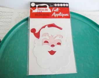 vintage christmas santa claus felt applique walco iron on press on 1960s