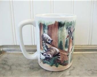 vintage wildlife mug otagiri stoneware bears, stag, raccoons,  woodland scene