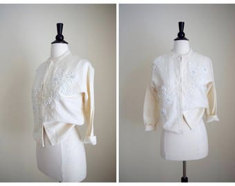 Vintage 60's beaded cardigan - 1960s white wool beaded sweater