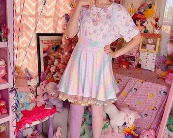 Pastel Rainbow Stripe Heart Yume Kawaii Suspender Skirt, Pastel Skirt, Fairy Kei Skirt, Kawaii Skirt