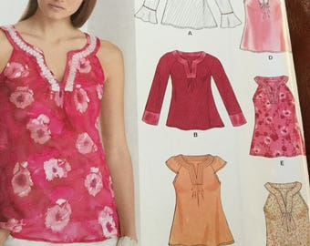 New Look 6605 Summer Top Pattern several lengths and sleeve types size 8-18, uncut