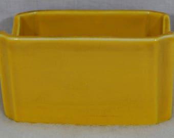 HALL Vintage Sugar  or Tea Packet Holder ~ Yellow Ceramic USA #719