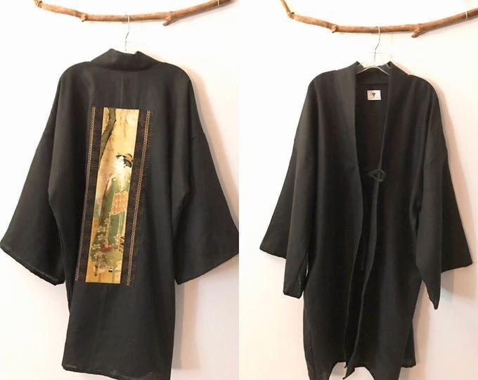 geisha linen haori inspired long jacket free size / ready to ship / geisha / linen hoari jacket / linen kimono jacket / plus size  kimono /