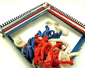 Vintage Metal Weaving Loom With Knit Loops