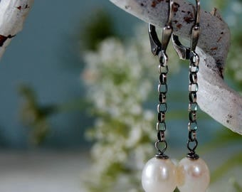 Long Pearl Earrings White Pearl Earrings Oxidized Silver Earrings Leverback Earrings