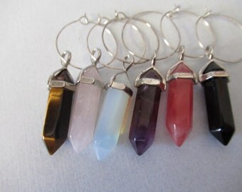 Gemstone wine charms, stone charms, wine charms, stone wine charms, rose quartz, tigers eye,