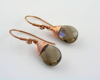 Wire Wrapped Smokey Quartz Earrings, Copper Earrings with Smokey Quartz, Solid Copper Jewelry, Artisan Earrings, Earrings Handmade