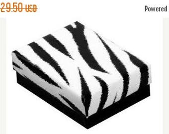 Summer Sale 100 Pack of 3.25X2.25X1 Inch Size Zebra Print Top Black Bottom Cotton Filled Jewelry Presentation Boxes