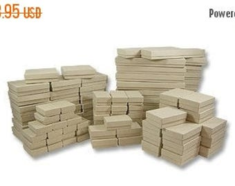 STOREWIDE SALE 50 Box Assortment of Kraft Color Cotton Filled Jewelry Boxes