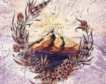 Mt Hood Wildflowers, Mount Hood painting print Mountain illustration, Oregon mountain print, Portland wilderness mountain art topo map art