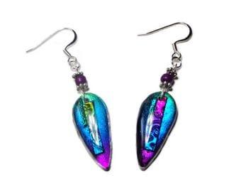 Dichroic Dangle Earrings- Resin earrings- Polymer clay Earrings Gifts for Her Birthday Graduation