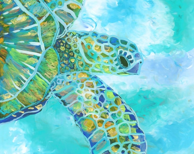 Turtle art prints, Hawaiian art, Kauai art prints, Hawaii painting, Hawaiian honu turtles, sea turtles ocean art, sea turtle decor, for kids