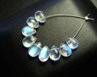RESERVED - Gem Grade Rainbow Moonstone Petite Drops - Mini Set - 5 to 6mm