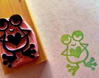 Frog rubber stamp//hand carved rubber stamp
