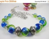 ON SALE Cool  Blue and Green Hand Blown Glass Balls Necklace Set with Earrings