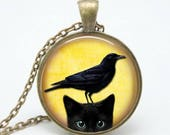 ON SALE Cat With Raven On Head Art Glass Pendant Black Kitty Cat Necklace With Bird