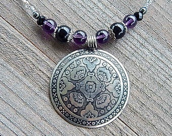 Midnight Garden Medallion Necklace Gothic Antiqued New Orlean Style Pendant Black Onyx Gemstone & Purple Glass Beads