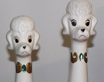 Adorable Vintage 1960s Ceramic Poodle Figurines DOGS
