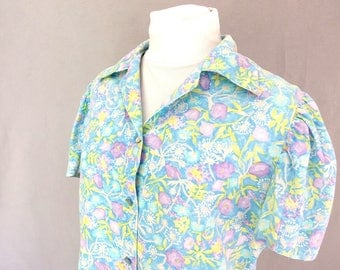 Blue Floral Blouse, Vintage 1970's Handmade Purple Flower Top, Modern Size 8, Small