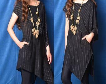 Free Shipping SALE size M- Nile Garden - asymmetrical zen cotton tunic / deconstructed boho tunic dress / striped extravagant dress  (Y19b6)