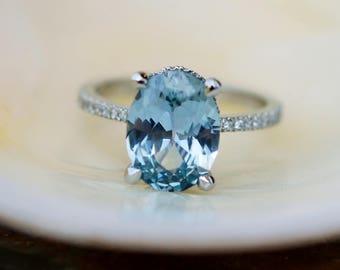 Blake Lively Ring Mint Blue Green sapphire ring 14k white gold diamond ring 3.55ct mint sapphire ring by Eidelprecious