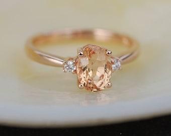 Sapphire Engagement Ring 14k Rose Gold Diamond Engagement Ring 1.55ct Cushion Peach sapphire ring. Engagement rings by Eidelprecious.