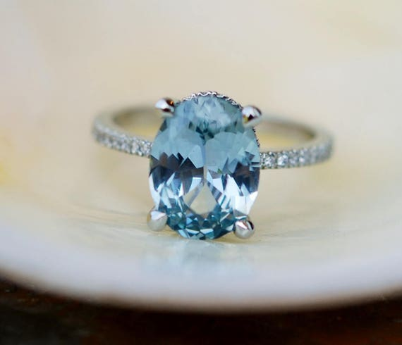 Blake Lively Ring Mint Blue Green sapphire ring 14k white gold diamond ring 3.55ct mint sapphire ring by Eidelprecious