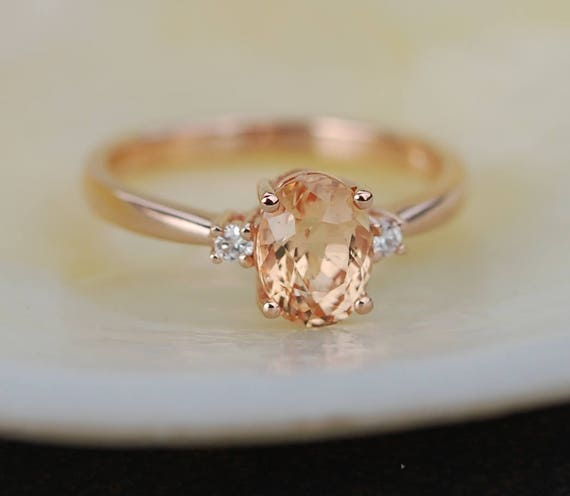 Sapphire Engagement Ring 14k Rose Gold Diamond Engagement Ring 1.55ct Cushion Peach sapphire ring. Engagement rings by Eidelprecious.