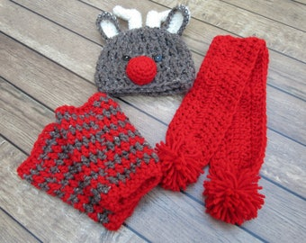 Baby Boy Christmas Set, Baby Girl Christmas Outfit, Baby Reindeer Hat, Newborn Reindeer Set, Baby Scarf, Infant Leg Warmers, Christmas Baby