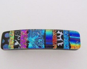 Small dichroic glass barrette