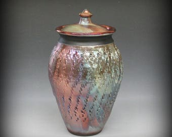Raku Urn or Lidded Vase Textured in Metallic Iridescent Colors