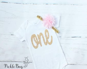 Pink and Gold 1st Birthday Outfit Girl, First Birthday Outfit Girl, Cake Smash Outfit Girl, First Birthday Tutu Set, 1st Birthday Bodysuit