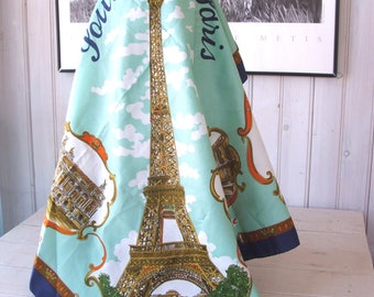 Vintage Souvenir of Paris France LAHMY Roger L. Paris Polyester Scarf Made in Italy