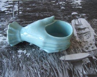 Vintage Turquoise Hand Ceramic Planter Vase