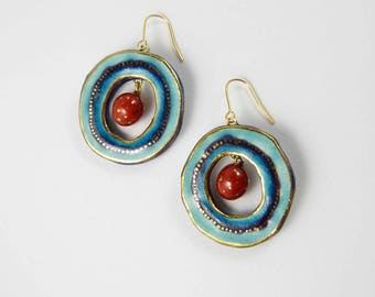 Ceramic earrings, multicolours with gold.