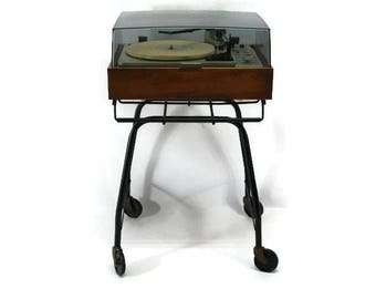 70's metal turntable record player console stand