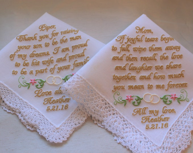 Wedding Handkerchief Set for Mother of the Bride and Mother of the Groom From Bride, Personalized, Embroidered, Wedding Handkerchief for Mom