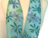 Hand Painted Silk Infinity Scarf, Turquoise, Blue and Purple Daisies on Turquoise Background with Black Outlines