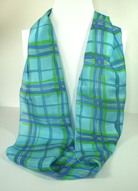 Hand Painted Silk Infinity Scarf, Turquoise & Blue Plaid, Bright Turquoise background with Plaid stripes in Royal, Green and Navy