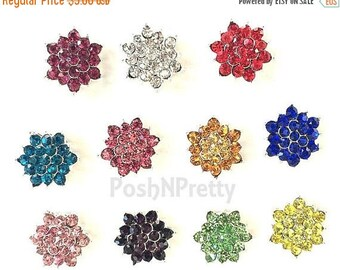 20% OFF EXP 06/30 5 PCS 18mm Sparkly Star Burst Rhinestone No shank Button - Choose colors