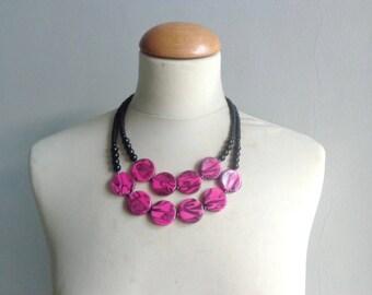 Black pink statement necklace