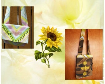 Garden Brights Envelope Style Small Day Bag with Golden Bee or Yellow Bee Print Your Choice of One