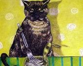 25% off cat tile - cat art - Tortoise Shell Cat Eating Sardines Art Tile, cat gifts, gift